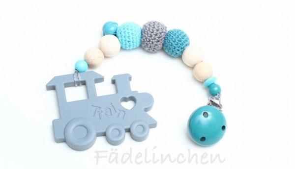 Beisskette Zahnungshilfe Silikon Lok grau/türkis Baby Junge