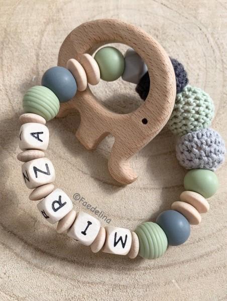 Greifring Rassel Greifling Baby Junge grau/Pistazie/Natur Geschenkidee Zahnen Elefant