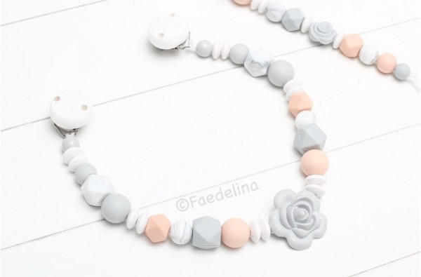 Wagenkette Kinderwagenkette Grau/Apricot Rosen Baby Mädchen Geschenkidee Silikonperlen