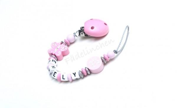 Schnullerkette mit Namen Schmetterling rosa/Silber Baby Mädchen