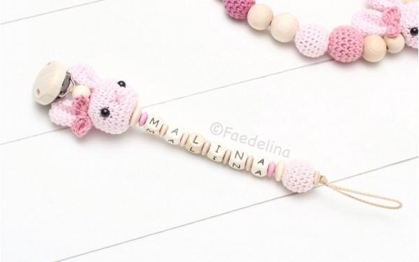 Schnullerkette mit Namen Häkelhase rosé/Natur Baby Mädchen Geschenkidee (ohne Deko)