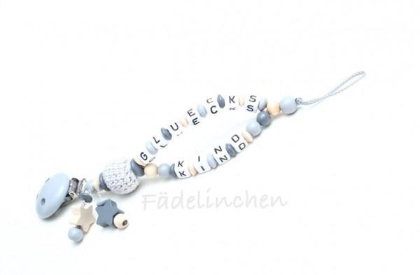 Schnullerkette mit Namen Doppelnamen natur/grau Sterne Häkelperlen Baby Geschenkidee