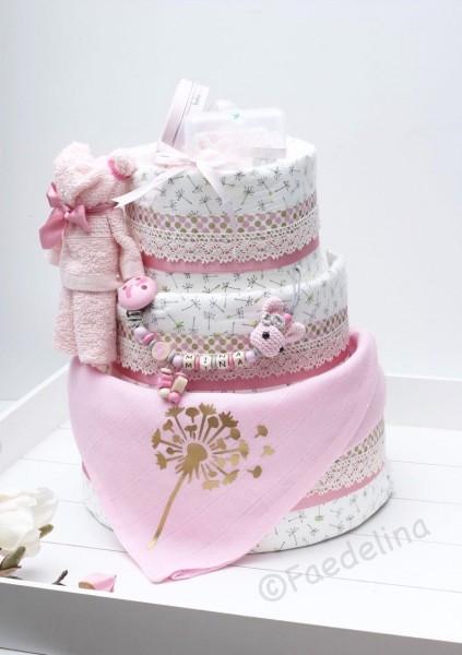 Windeltorte Geschenkidee Baby Mädchen rosa Schnullerkette Wagenkette Greifring