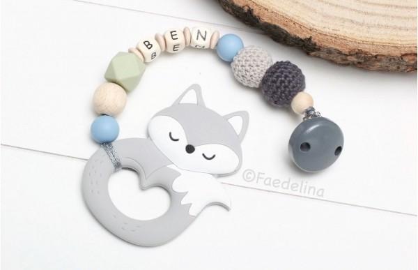 Beisskette mit Namen Silikon Fuchs grau/blau/pistazie Baby Junge Geschenkidee Zahnungshilfe zahnen