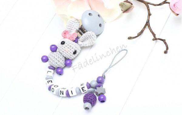 Schnullerkette 3D Hase Mädchen lila/grau