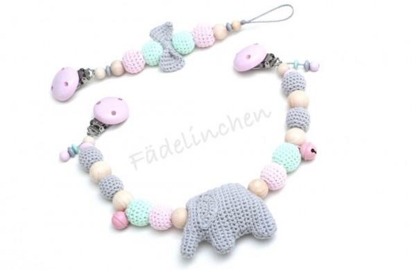 Wagenkette & Schnullerkette Set Mädchen Elefant rosa grau (auch einzeln)