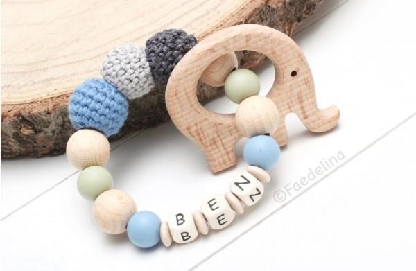 Greifring Greifling Rassel mit Namen Baby Junge Elefant grau/blau/pistazie Geschenkidee