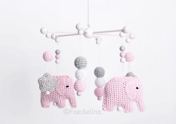 Baby Mobile Stern Elefanten rosa/grau/weiss Babymädchen Kinderzimmerdeko Babyzimmer