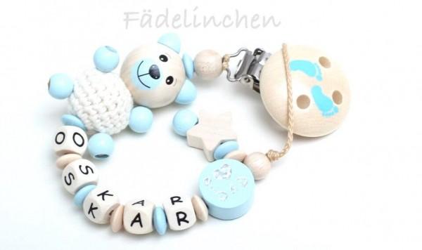 Schnullerkette 3D Bär natur/babyblau Junge