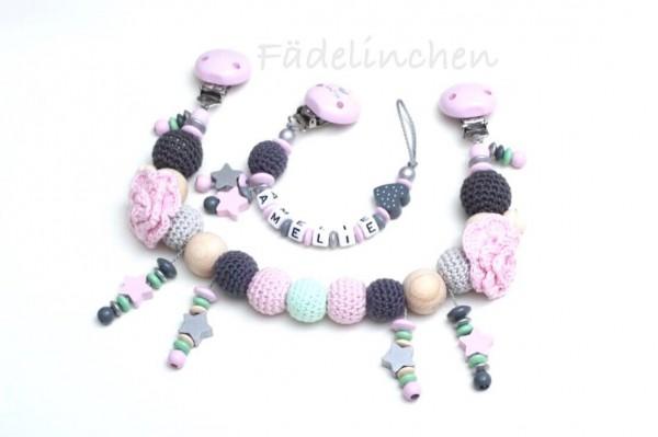 Geschenkset Wagenkette & Schnullerkette mit Namen Mädchen Rosen (auch einzeln)