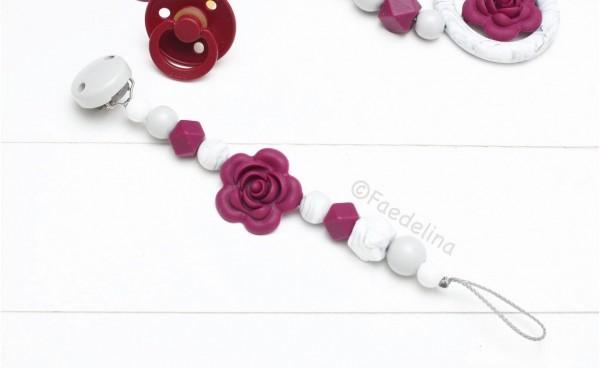 Schnullerkette Rosé Beere/Marble Marmor Baby Mädchen Geschenkidee (ohne Deko)