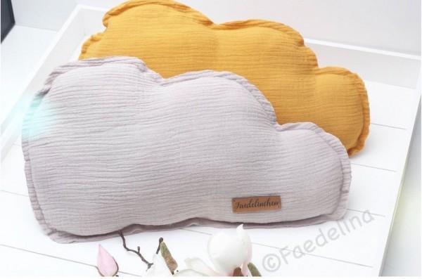 Baby Kissen Musselin Senf oder Grau Wolke Dekokissen Kuschelkissen Wolkenkissen