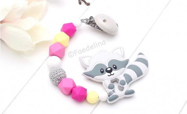 Beisskette Waschbär grau/pink/gelb Silikonperlen Zahnungshilfe Häkelperlen Baby Mädchen